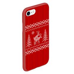 Чехол iPhone 7/8 матовый Олени под елками цвета 3D-красный — фото 2