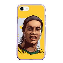 Чехол iPhone 7/8 матовый Ronaldinho Art цвета 3D-светло-сиреневый — фото 1