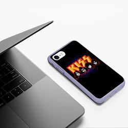 Чехол iPhone 7/8 матовый KISS: Death Faces цвета 3D-светло-сиреневый — фото 2