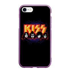 Чехол iPhone 7/8 матовый KISS: Death Faces цвета 3D-фиолетовый — фото 1
