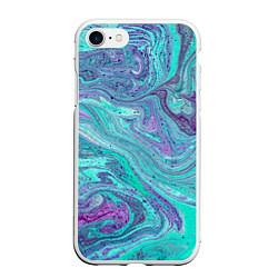 Чехол iPhone 7/8 матовый Смесь красок цвета 3D-белый — фото 1