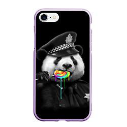 Чехол iPhone 7/8 матовый Панда с карамелью цвета 3D-сиреневый — фото 1