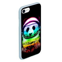 Чехол iPhone 7/8 матовый Панда космонавт цвета 3D-голубой — фото 2