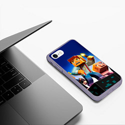Чехол iPhone 7/8 матовый Minecraft цвета 3D-серый — фото 2