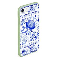 Чехол iPhone 7/8 матовый Гжель 2 цвета 3D-салатовый — фото 2