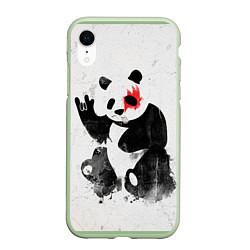 Чехол iPhone XR матовый Рок-панда цвета 3D-салатовый — фото 1