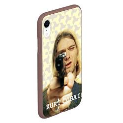 Чехол iPhone XR матовый Кобейн с пистолетом цвета 3D-коричневый — фото 2