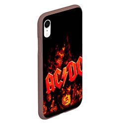 Чехол iPhone XR матовый AC/DC Flame цвета 3D-коричневый — фото 2