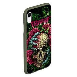 Чехол iPhone XR матовый BFMV: Roses Skull цвета 3D-темно-зеленый — фото 2