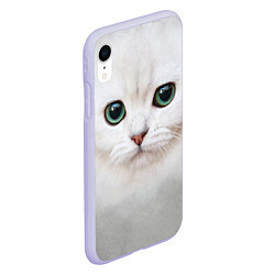 Чехол iPhone XR матовый Белый котик цвета 3D-светло-сиреневый — фото 2