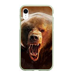 Чехол iPhone XR матовый Рык медведя цвета 3D-салатовый — фото 1