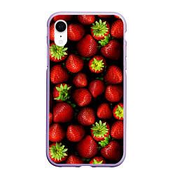 Чехол iPhone XR матовый Клубничка цвета 3D-светло-сиреневый — фото 1