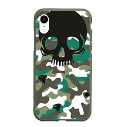 Чехол iPhone XR матовый Камуфляж цвета 3D-темно-зеленый — фото 1