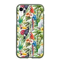 Чехол iPhone XR матовый Попугаи в тропиках цвета 3D-темно-зеленый — фото 1