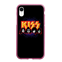 Чехол iPhone XR матовый KISS: Death Faces цвета 3D-малиновый — фото 1