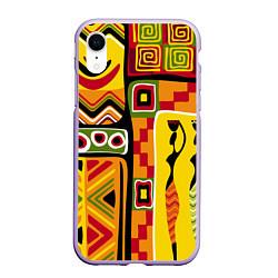 Чехол iPhone XR матовый Африка цвета 3D-светло-сиреневый — фото 1