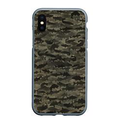 Чехол iPhone XS Max матовый Камуфляж рыбака цвета 3D-серый — фото 1