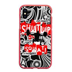 Чехол iPhone XS Max матовый Shut up & squat цвета 3D-красный — фото 1
