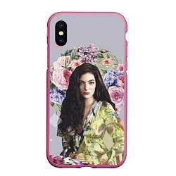 Чехол iPhone XS Max матовый Lorde Floral цвета 3D-малиновый — фото 1
