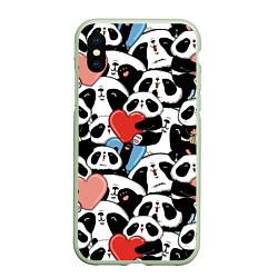 Чехол iPhone XS Max матовый Милые панды цвета 3D-салатовый — фото 1