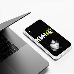 Чехол iPhone XS Max матовый Цой цвета 3D-белый — фото 2