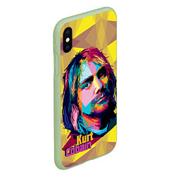 Чехол iPhone XS Max матовый Kurt Cobain: Abstraction цвета 3D-салатовый — фото 2