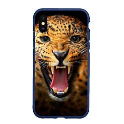 Чехол iPhone XS Max матовый Рык леопарда цвета 3D-тёмно-синий — фото 1