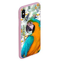 Чехол iPhone XS Max матовый Летний попугай цвета 3D-розовый — фото 2