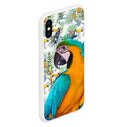 Чехол iPhone XS Max матовый Летний попугай цвета 3D-белый — фото 2