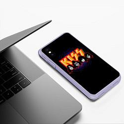 Чехол iPhone XS Max матовый KISS: Death Faces цвета 3D-светло-сиреневый — фото 2