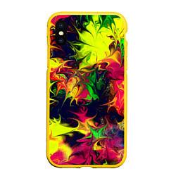 Чехол iPhone XS Max матовый Кислотный взрыв цвета 3D-желтый — фото 1