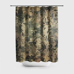 Шторка для душа Камуфляж пиксельный: хаки цвета 3D — фото 1