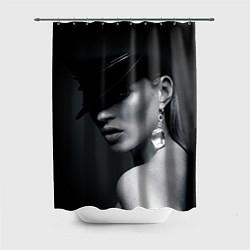Шторка для душа Девушка в шляпе цвета 3D — фото 1