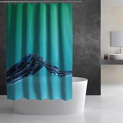 Шторка для душа Зеленая вода цвета 3D — фото 2