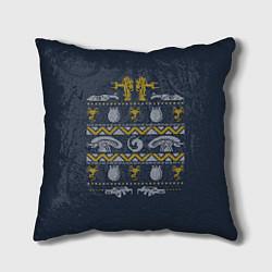 Подушка квадратная Новогодний свитер Чужой цвета 3D-принт — фото 1