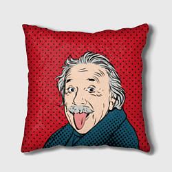 Подушка квадратная Альберт Эйнштейн: Поп-арт цвета 3D — фото 1