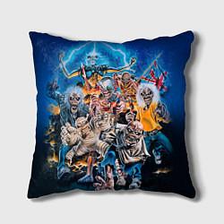 Подушка квадратная Iron Maiden: Skeletons цвета 3D — фото 1