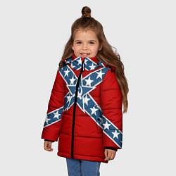 Куртка зимняя для девочки Флаг советской конфедерации цвета 3D-черный — фото 2