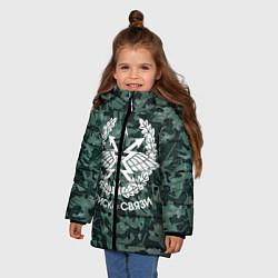 Куртка зимняя для девочки Войска связи. Камуфляж цвета 3D-черный — фото 2