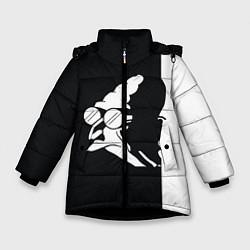 Детская зимняя куртка для девочки с принтом Grandfather: Black & White, цвет: 3D-черный, артикул: 10109127806065 — фото 1