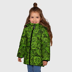 Куртка зимняя для девочки Тропические листья цвета 3D-черный — фото 2