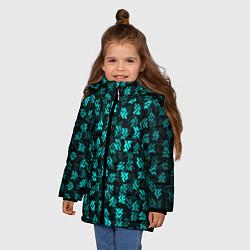 Куртка зимняя для девочки Инопланетная письменность цвета 3D-черный — фото 2