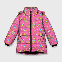 Куртка зимняя для девочки Мороженка цвета 3D-черный — фото 1