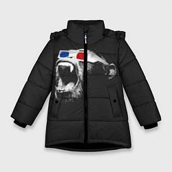 Детская зимняя куртка для девочки с принтом 3D Monkey, цвет: 3D-черный, артикул: 10112477306065 — фото 1