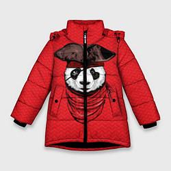 Куртка зимняя для девочки Панда пират цвета 3D-черный — фото 1