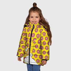 Куртка зимняя для девочки Пончики Гомера Симпсона цвета 3D-черный — фото 2