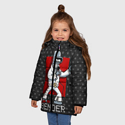 Детская зимняя куртка для девочки с принтом Bender Presley, цвет: 3D-черный, артикул: 10113799106065 — фото 2
