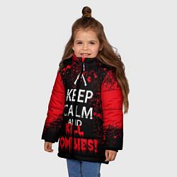 Детская зимняя куртка для девочки с принтом Keep Calm & Kill Zombies, цвет: 3D-черный, артикул: 10114183406065 — фото 2