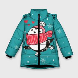 Куртка зимняя для девочки Пингвинчик на коньках цвета 3D-черный — фото 1