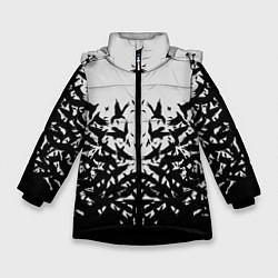 Детская зимняя куртка для девочки с принтом Птичий вихрь, цвет: 3D-черный, артикул: 10115627906065 — фото 1